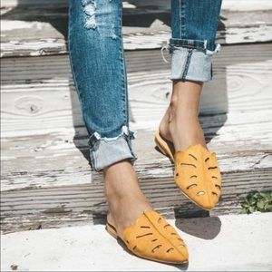 Shoes - Vegan suede flats distressed slip on shoes mules